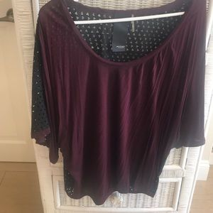 Heather by Bordeaux Burgundy Off the Shoulder Top